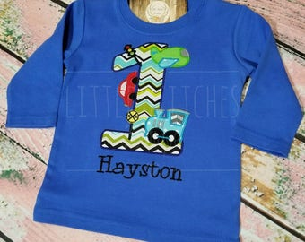 First (1st) Birthday Planes, Trains & Cars Custom Embroidered Shirt