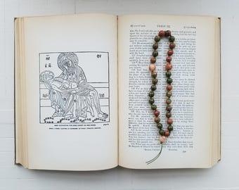 Eastern Orthodox Chotki Komboskini Russian Greek Christian Prayer Beads Rosary - Unakite and Pink Stone Beads