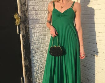 Size small emerald full length pleated party dress