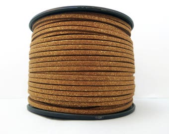 10 meters of 3mm suede cord / golden brown / glitter