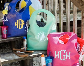 Beach Bag-Monogrammed Beach Bag-Personalized Beach Bag-Beach Tote-Custom Beach Bag-Jute Beach Bag-Gift for Her-Bachelorette Party-Pool Bag