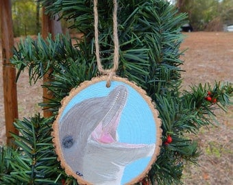 Dolphin Hand painted wood slice ornament