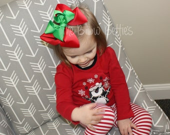 Christmas Hair Bow, Red and Green Bow, XL Christmas Bow, Red Hair Bow, Green Hair Bow, Holiday Hair Bow, Winter Hair Bow, Double Stacked Bow