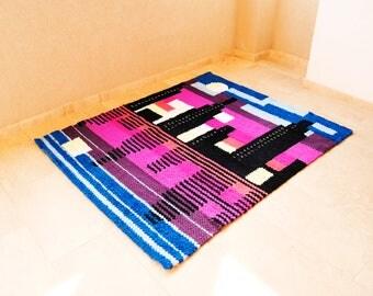Urban rug, Skyline decor, Geometric rug, Contemporary rug, Modern area rug, City landscape, Purple area rug, Pink area rug, Handwoven rug