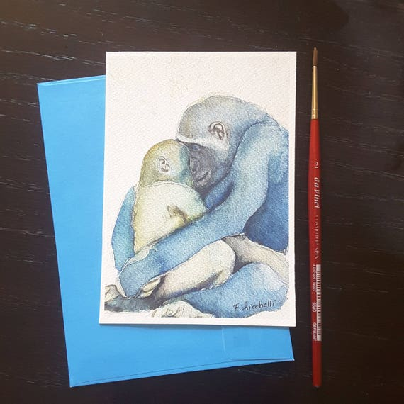 Gorilla, mom and puppy, A6, giclee fine art print, maternal hug, gift idea for new born, nursery decoration, baby shower, child bedroom.