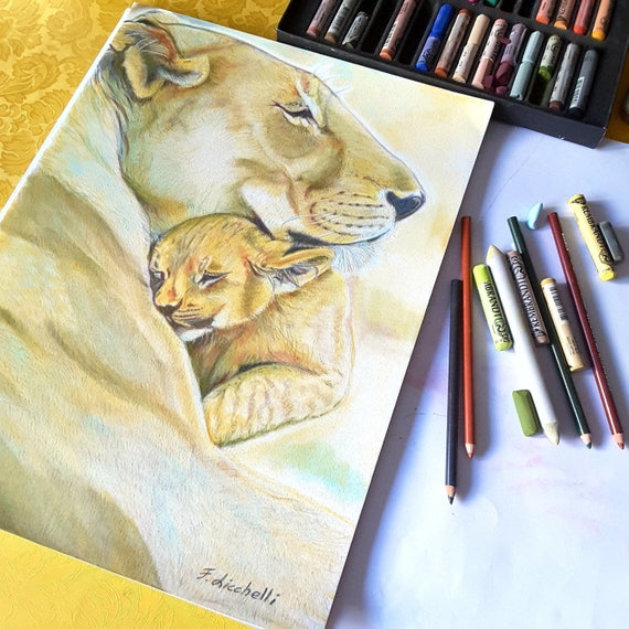 Lions drawing. Portrait animals. Lioness and baby lion. Savannah pitture. Ooak. Home office decoration. Children bedroom. Nursery wall art.