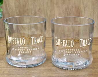 whisky gift glasses Buffalo Trace Whiskey set of 2 21st birthday corporate gifts dad  gifts 3rd anniversary drunk custom glass unique gift