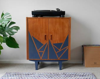 Mid Century Vinyl Record Storage Cabinet. Upcycled & Painted Navy Blue with Triangle Pattern. Danish Vintage. EtsyXAnnieSloan