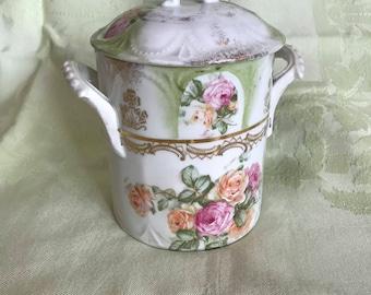 Ornate Antique Porcelain Condensed Milk Jar