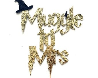 """Gold Glitter """"Muggle to Mrs"""" Harry Potter Themed Party Cake Topper // Bridal Shower, Engagement, Wedding Shower Muggle Wizard Party Prop"""