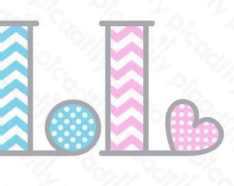 Chevron Monogram SVG PNG Picadilly Font Svg Cut File Chevron Font Initial L Baby Monogram L Baby Boy Digital File Baby Girl Heart svg