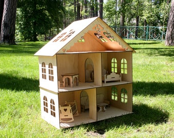 Dollhouse with furniture, Wooden dollhouse, Doll house Wood, Wood dollhouse, Doll House, Plywood house, Wooden doll house, Dollhouse Kit