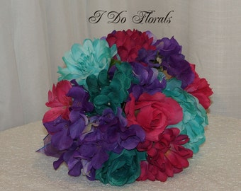 Teal and Fuchsia Brides Bouquet, Rose and Hydrangea Wedding Bouquet, Bridesmaid Bouquet, Purple and Teal Wedding Flowers, Bridal Bouquet