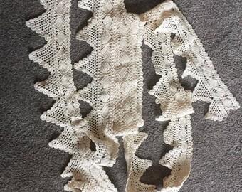Vintage Handmade Crocheted  Cotton Trim Edging Cream 4.8metres long