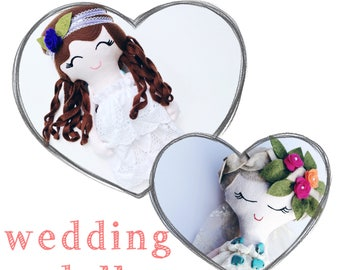 CUSTOM WEDDING FIGURE, bride and groom dolls, handmade cloth doll, heirloom toy, rag doll, create your own, wedding keepsake gift, love doll