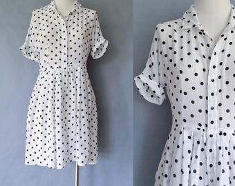 20% off using coupon! Vintage silk dress/ polka dots/ button down shirt dress women's size S