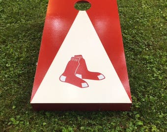 painted Cornhole Boards  Boston Redsox