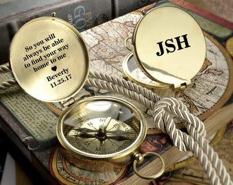 Engraved Compass, Brass Personalized Compas, Valentines Day Gift, Anniversary Gift, Fathers Day Gift, Vintage Style Compass, Groomsmen Gift