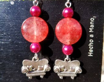 Couch Tour, Dangle Earrings, Pink Agate, Glass Pearl, Silver Tone, Sofa