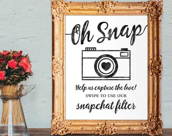 Wedding snapchat filter sign - swipe to use our snapchat filter - snapchat wedding sign - PRINTABLE 8x10 - 5x7