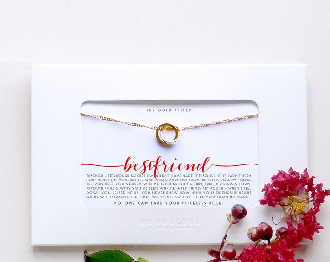 Bestfriend |Poem Quote Message Card Friendship Best Friend Long Distance Miss You Birthday Gift | Gold Filled Linked Circle Ring Necklace