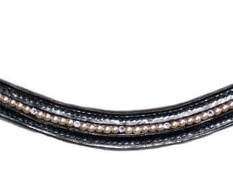Pearl and diamante browband, pony, black.