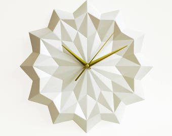 White origami clock, wall clock without numbers, elegant modern home decor
