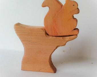 Red squirrel. Waldorf Wooden toy.