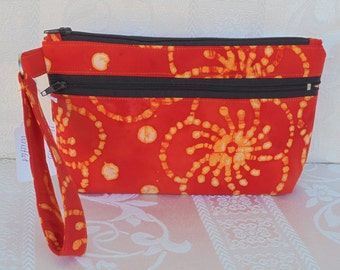 Carnella Batik, Wristlet, Cell phone Bag, Zippered Bag, coin pouch, clutch bag, fabric bag, handbag, credit Card Pockets