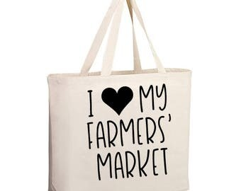 Farmers Market Bag, I love my Farmers Market bag, Market Bag, Farmers Market shopping bag, Farmers Market Totes, Grocery Tote, Large tote