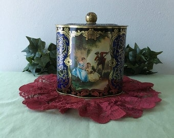 Vintage Covered Candy Tin