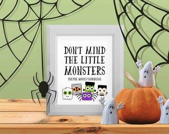 Little Monsters Halloween Sign, Printable Halloween Decor, Kids Halloween Decorations