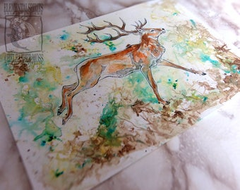 ORIGINAL Red Deer Animal Ink Art Watercolour Wildlife Wall Noble Inktober Lover Home Decor Cute Kids Nursery Drawing Illustration Scottish