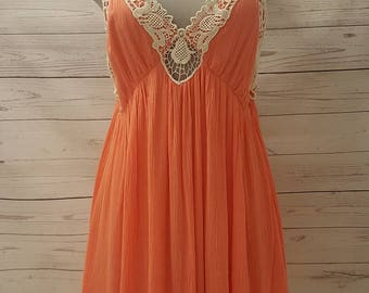 Coral Dress with Open Back Spaghetti Straps and Crochet Accents