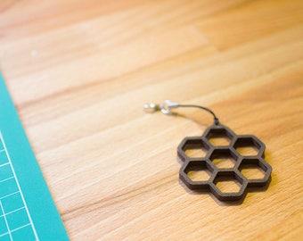 Wooden Honeycomb Keyring Handbag Charm Charcoal Black
