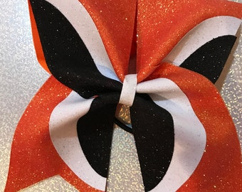 Orange, Black and White Glitter Cheer Bow