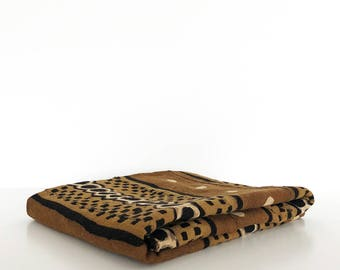 Mudcloth throw | Brown pattern mudcloth blanket | Mudcloth tapestry | African mudcloth | Brown bogolan | Authentic mud cloth fabric