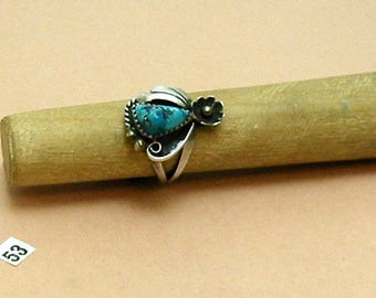 "Turquoise Nugget Ring, .925 Sterling Silver ring, Excellent Color Free Form Stone. Signed ""FY"". Vintage 1970s. Size 4."