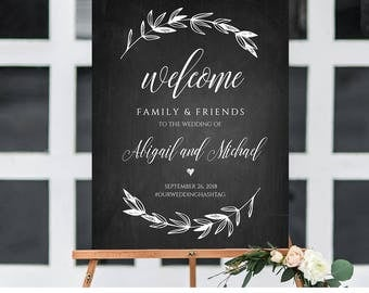 Wedding Welcome Sign Template, Chalkboard Wedding Poster Printable, Rustic Laurels, 100% Editable, Instant Download 18x24, 24x36  #023-101LS