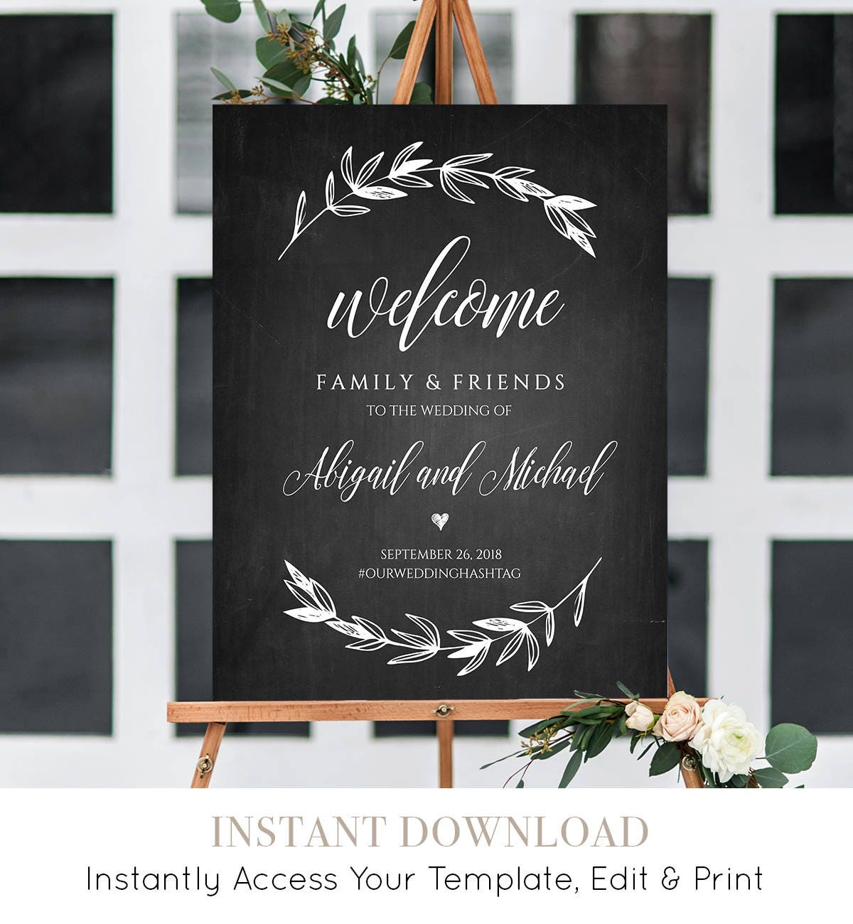 wedding welcome sign template chalkboard wedding poster printable rustic laurels 100. Black Bedroom Furniture Sets. Home Design Ideas