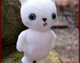White Cat plushie short hair stuffed animal OOAK longhair green custom eyes