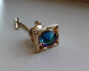 Gold Tone Synthetic Stone Tie Tack