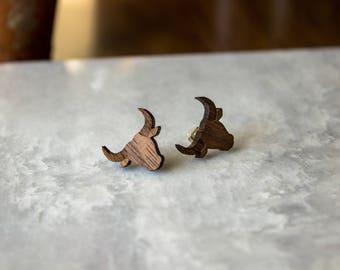 Wooden Engraved Bull Earrings