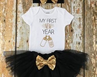 My First New Years, My First New Year Tutu, Baby's First New Year, New Years Shirt, My First New Years Outfit, New Years Outfit Baby Girl