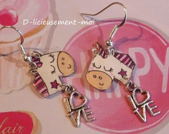 Earrings in sterling silver 925 Unicorn kawaii crazy crazy plastic charm and hand-painted love