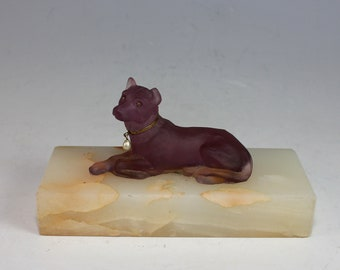 French Opalescent Glass Dog on an Onyx Base