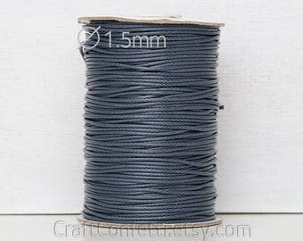 Gray waxed cotton cord 1.5mm Gray cord Round cotton cord Cotton wax cord Cotton beading cord DIY jewelry Jewellery stringing / 3 meters