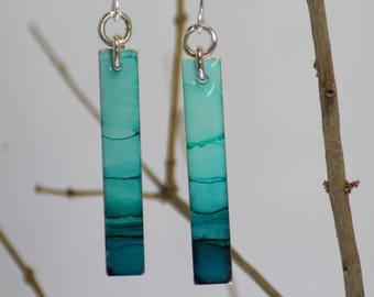 Ocean Blue Long Rectangle Hand Painted Earrings