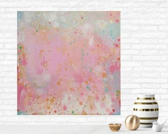 Pink and Gold Abstract Nursery Art Coral and Gold Nursery Painting Pink Coral and Aqua Nursery Wall Art Pink and Gold Art Pink and Mint Art
