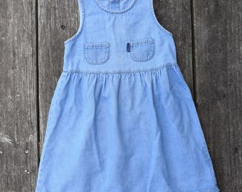 Vintage 1980s Girls Guess Jeans Denim Dress, Size 5 // Vintage Clothing // Vintage Guess // Vintage Dress // Vintage Girls Dress